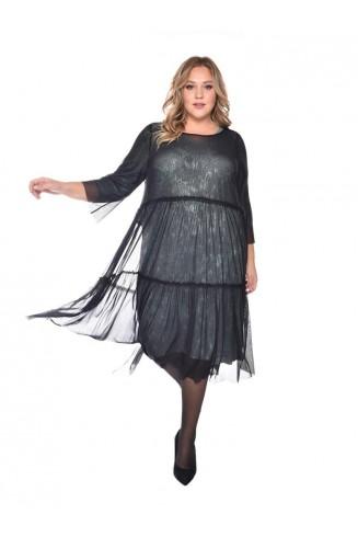 Платье ПРЕСТИЖ цвет изумруд с черным